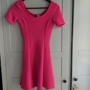 Hot pink flared skater dress bright neon